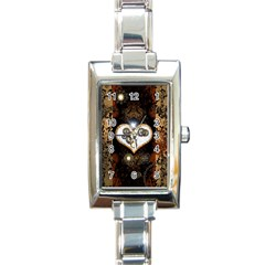 Steampunk, Awesome Heart With Clocks And Gears Rectangle Italian Charm Watches by FantasyWorld7