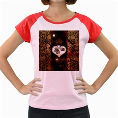 Steampunk, Awesome Heart With Clocks And Gears Women s Cap Sleeve T Shirt by FantasyWorld7