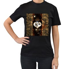 Steampunk, Awesome Heart With Clocks And Gears Women s T Shirt (black) (two Sided) by FantasyWorld7