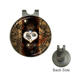 Steampunk, Awesome Heart With Clocks And Gears Hat Clips With Golf Markers by FantasyWorld7