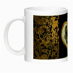 Steampunk, Awesome Heart With Clocks And Gears Night Luminous Mugs by FantasyWorld7