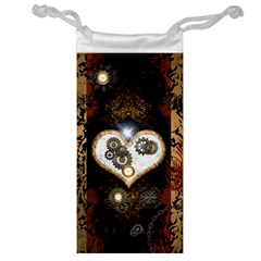 Steampunk, Awesome Heart With Clocks And Gears Jewelry Bags by FantasyWorld7