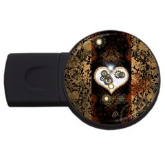 Steampunk, Awesome Heart With Clocks And Gears Usb Flash Drive Round (4 Gb)  by FantasyWorld7