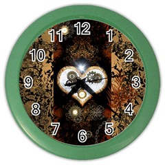 Steampunk, Awesome Heart With Clocks And Gears Color Wall Clocks by FantasyWorld7