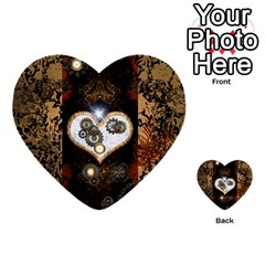 Steampunk, Awesome Heart With Clocks And Gears Multi Purpose Cards (heart)  by FantasyWorld7