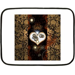 Steampunk, Awesome Heart With Clocks And Gears Fleece Blanket (mini) by FantasyWorld7