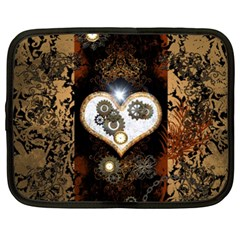 Steampunk, Awesome Heart With Clocks And Gears Netbook Case (XXL)  by FantasyWorld7