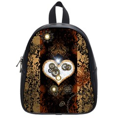 Steampunk, Awesome Heart With Clocks And Gears School Bags (small)  by FantasyWorld7
