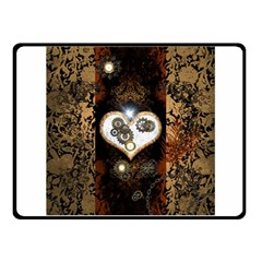 Steampunk, Awesome Heart With Clocks And Gears Fleece Blanket (small) by FantasyWorld7