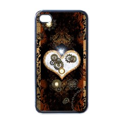 Steampunk, Awesome Heart With Clocks And Gears Apple Iphone 4 Case (black) by FantasyWorld7