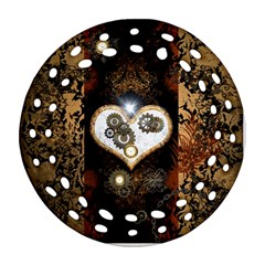 Steampunk, Awesome Heart With Clocks And Gears Ornament (round Filigree)  by FantasyWorld7