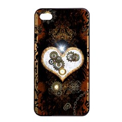 Steampunk, Awesome Heart With Clocks And Gears Apple Iphone 4/4s Seamless Case (black) by FantasyWorld7