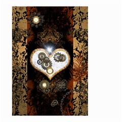Steampunk, Awesome Heart With Clocks And Gears Small Garden Flag (two Sides) by FantasyWorld7