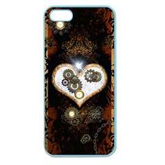 Steampunk, Awesome Heart With Clocks And Gears Apple Seamless Iphone 5 Case (color) by FantasyWorld7