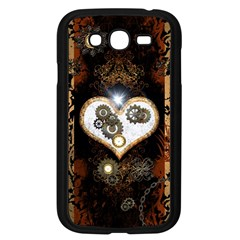 Steampunk, Awesome Heart With Clocks And Gears Samsung Galaxy Grand Duos I9082 Case (black) by FantasyWorld7