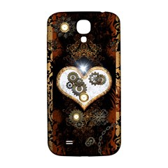 Steampunk, Awesome Heart With Clocks And Gears Samsung Galaxy S4 I9500/i9505  Hardshell Back Case by FantasyWorld7