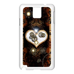 Steampunk, Awesome Heart With Clocks And Gears Samsung Galaxy Note 3 N9005 Case (white) by FantasyWorld7