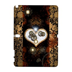 Steampunk, Awesome Heart With Clocks And Gears Samsung Galaxy Note 10 1 (p600) Hardshell Case by FantasyWorld7