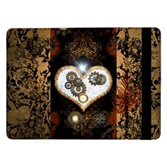 Steampunk, Awesome Heart With Clocks And Gears Samsung Galaxy Tab Pro 12 2  Flip Case by FantasyWorld7