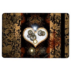 Steampunk, Awesome Heart With Clocks And Gears Ipad Air Flip by FantasyWorld7