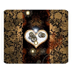 Steampunk, Awesome Heart With Clocks And Gears Double Sided Flano Blanket (medium)  by FantasyWorld7