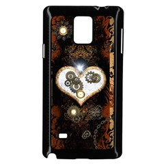 Steampunk, Awesome Heart With Clocks And Gears Samsung Galaxy Note 4 Case (black) by FantasyWorld7