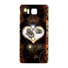 Steampunk, Awesome Heart With Clocks And Gears Samsung Galaxy Alpha Hardshell Back Case by FantasyWorld7