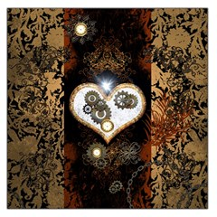 Steampunk, Awesome Heart With Clocks And Gears Large Satin Scarf (square) by FantasyWorld7