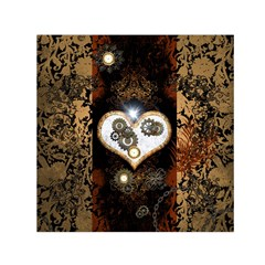 Steampunk, Awesome Heart With Clocks And Gears Small Satin Scarf (square)  by FantasyWorld7