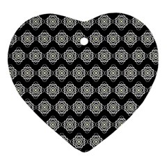 Abstract Knot Geometric Tile Pattern Heart Ornament (2 Sides) by creativemom
