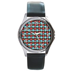 Colorful Floral Pattern Round Metal Watches by creativemom