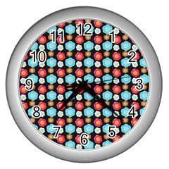 Colorful Floral Pattern Wall Clocks (silver)  by creativemom