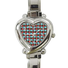 Colorful Floral Pattern Heart Italian Charm Watch by creativemom