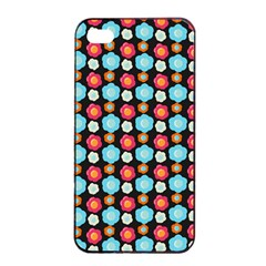 Colorful Floral Pattern Apple Iphone 4/4s Seamless Case (black) by creativemom
