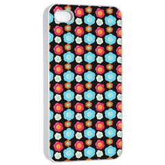 Colorful Floral Pattern Apple Iphone 4/4s Seamless Case (white) by creativemom