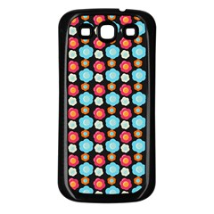Colorful Floral Pattern Samsung Galaxy S3 Back Case (black) by creativemom