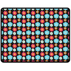 Colorful Floral Pattern Double Sided Fleece Blanket (medium)  by creativemom