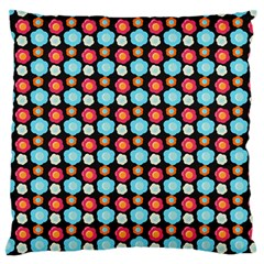 Colorful Floral Pattern Large Flano Cushion Cases (two Sides)  by creativemom