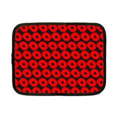 Charcoal And Red Peony Flower Pattern Netbook Case (Small)  by creativemom
