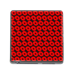 Charcoal And Red Peony Flower Pattern Memory Card Reader (square) by creativemom
