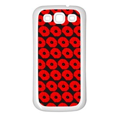 Charcoal And Red Peony Flower Pattern Samsung Galaxy S3 Back Case (white) by creativemom