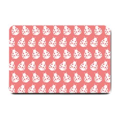 Coral And White Lady Bug Pattern Small Doormat  by creativemom