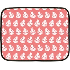 Coral And White Lady Bug Pattern Double Sided Fleece Blanket (mini)  by creativemom