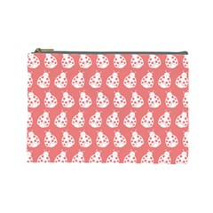 Coral And White Lady Bug Pattern Cosmetic Bag (large)