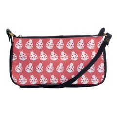 Coral And White Lady Bug Pattern Shoulder Clutch Bags by creativemom