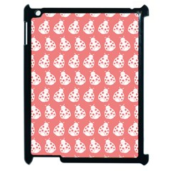 Coral And White Lady Bug Pattern Apple Ipad 2 Case (black) by creativemom