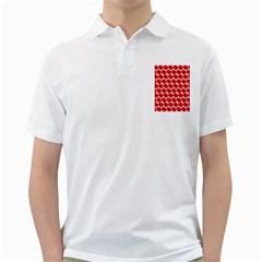 Red Peony Flower Pattern Golf Shirts by creativemom
