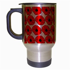 Red Peony Flower Pattern Travel Mug (silver Gray) by creativemom