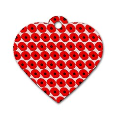 Red Peony Flower Pattern Dog Tag Heart (two Sides) by creativemom