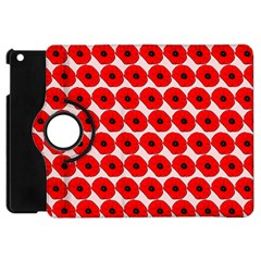Red Peony Flower Pattern Apple Ipad Mini Flip 360 Case by creativemom